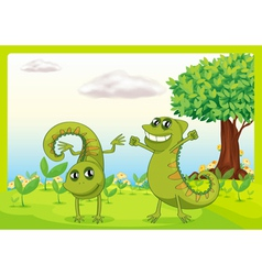 Two chameleons in nature vector image vector image