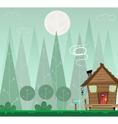 Winter forest landscape and the houses shelter vector image