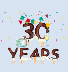 30th year birthday celebration card vector image vector image