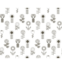 Seamless pattern flowers with background vector image