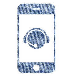 Smartphone operator contact head fabric textured vector