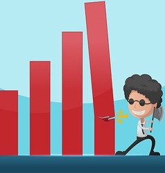 Business Man Overthrow Red Graph vector image