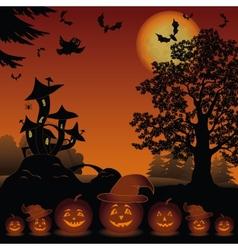 Halloween landscape with pumpkins Jack-o-lantern vector image vector image