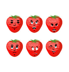 strawberry emotions set red berry evil and good vector image vector image