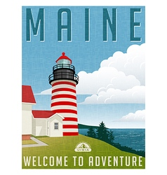 travel poster or sticker of Maine lighthouse vector image vector image