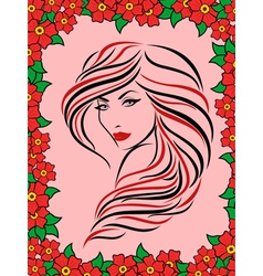 Woman in floral frame vector image vector image