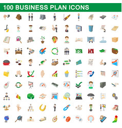 100 business plan icons set cartoon style vector image