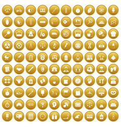 100 libra icons set gold vector