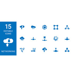 15 networking icons vector image