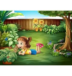 A little girl watching a butterfly vector