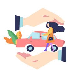 Accident prevention car insurance concept woman vector