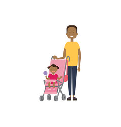 African father daughter baby in stroller full vector