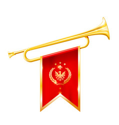 antique royal horn - trumpet with triumphant flag vector image