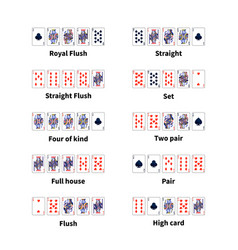 Big set of all kinds of poker cards combination on vector