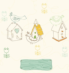 birds and bird houses doodles vector image