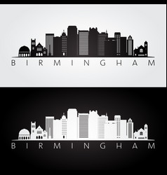 Birmingham usa skyline and landmarks silhouette vector