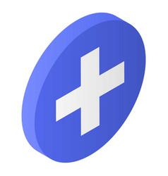Blue circle plus icon isometric style vector