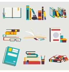 Books set in flat design style vector