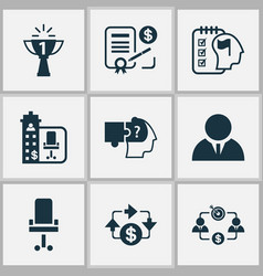 Business management icons set with success office vector