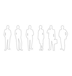 business people line art icon set vector image