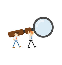 Businessmaen with big magnifying glass icon vector