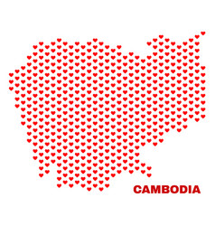 cambodia map - mosaic of valentine hearts vector image