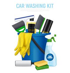 car washing kit realistic composition vector image