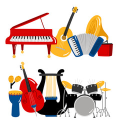 cartoon music instruments vector image