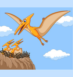 cartoon pterodactyl with her baby vector image