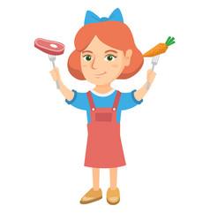 caucasian girl holding fresh carrot and steak vector image