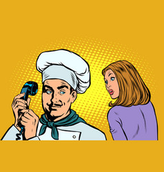 chef on phone a woman client listens vector image