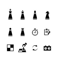 Chess pieces Black icons set vector image