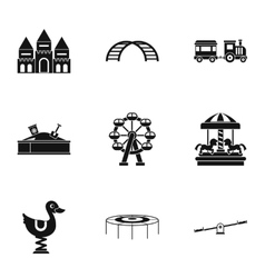 Children rides icons set simple style vector image