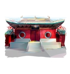 Chinese temple watercolor vector
