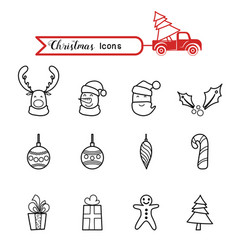 christmas line art icons set christmas drawing vector image