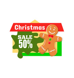 christmas sale 50 off discount gingerbread boy vector image