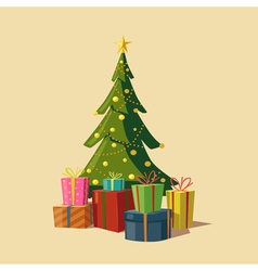 Christmas tree with gifts Cartoon vector image