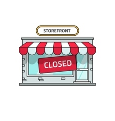 Closed shop building store font view with vector image
