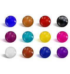 Collection of colorful glossy spheres isolated vector