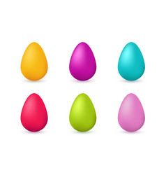 colorful easter eggs icons set vector image