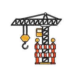construction tower crane barricade caution vector image