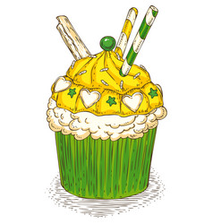 Cupcake with waffles vector