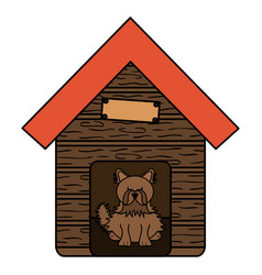 cute little dog in wooden house character vector image