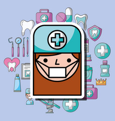 dentist girl cartoon dental care professional vector image