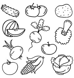Doodle of vegetable set hand draw vector