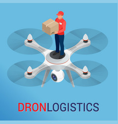 Drone logistics network flat vector