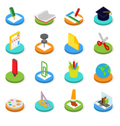 education isometric icon set 3d symbols vector image