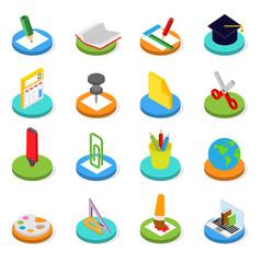 Education isometric icon set 3d symbols vector