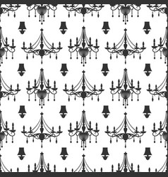 Elegance crystal chandeliers seamless pattern vector