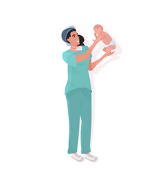 Female doctor midwife in uniform holding newborn vector